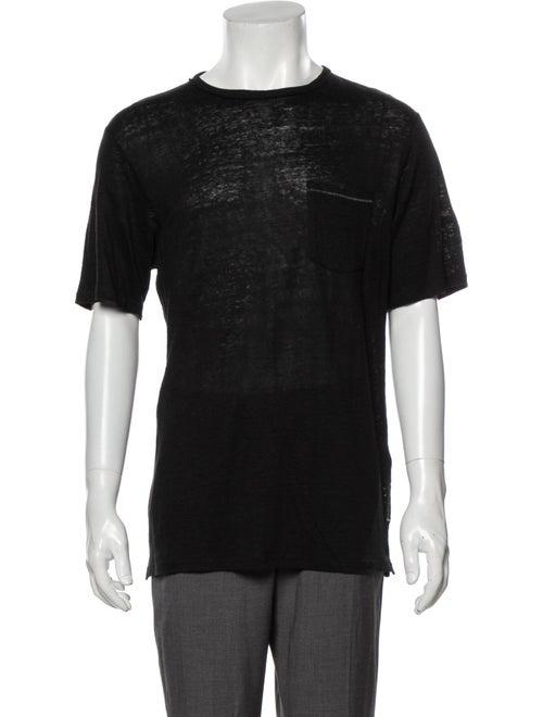 Rag & Bone Linen Printed T-Shirt Black