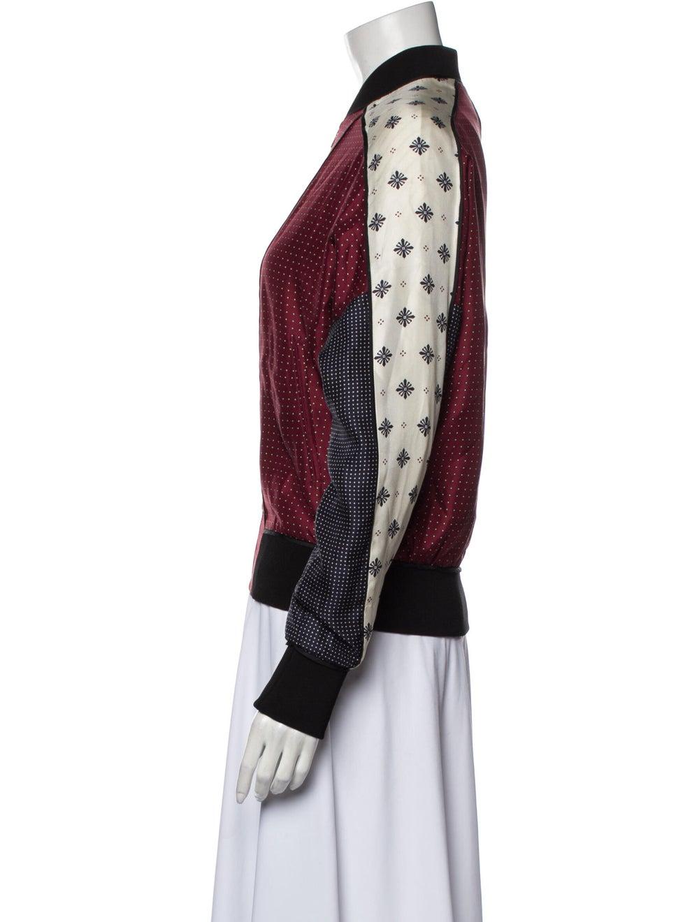 Rag & Bone Silk Printed Bomber Jacket Red - image 2