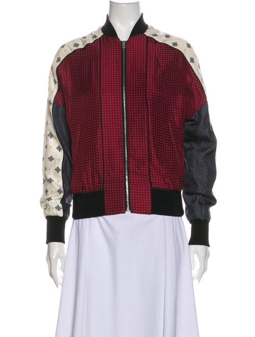 Rag & Bone Silk Printed Bomber Jacket Red - image 1