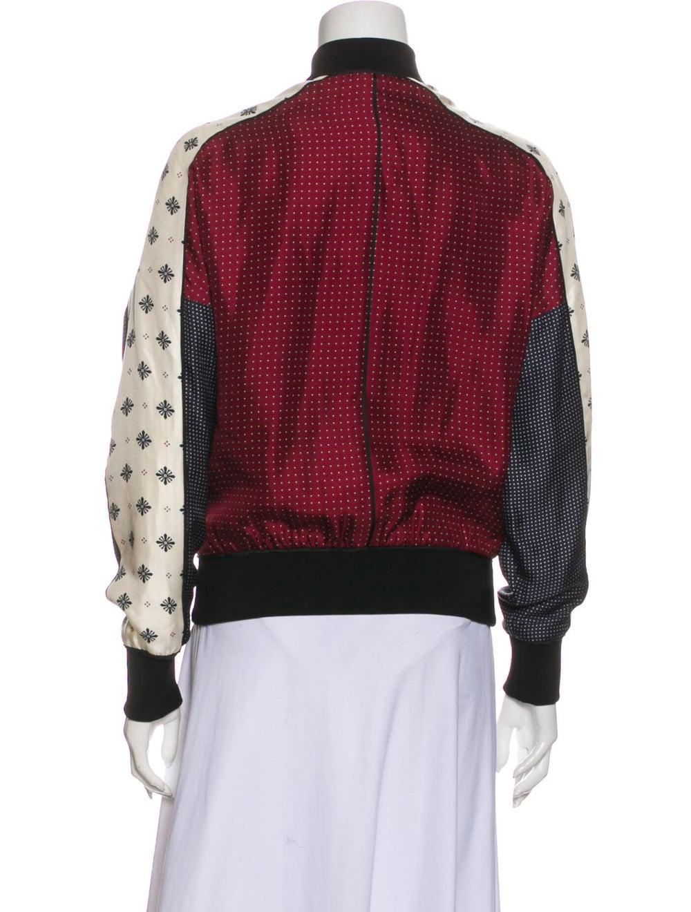 Rag & Bone Silk Printed Bomber Jacket Red - image 3