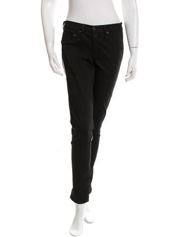 Rag & Bone Leather-Accented Straight-Leg Pants