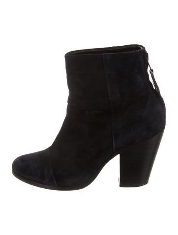 Rag & Bone Suede Newbury Round-Toe Booties.