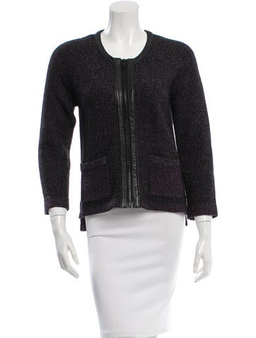 Rag & Bone Leather-Accented Wool Cardigan None