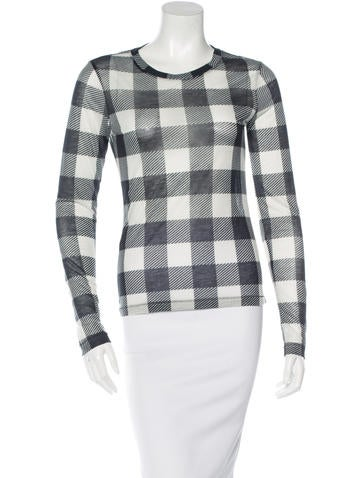 Rag & Bone Gingham-Print Long Sleeve Top None