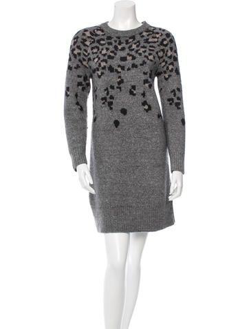 Rag & Bone Leopard Patterned Rib Knit Dress None