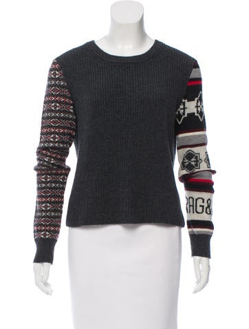 Rag & Bone Patterned Rib Knit Sweater None