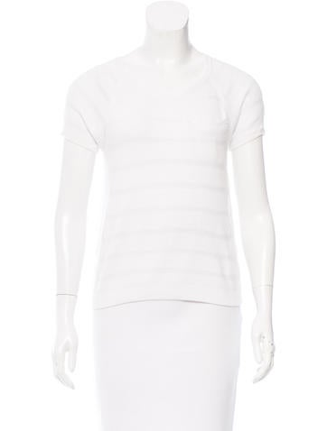 Rag & Bone Perforated Short Sleeve Top None