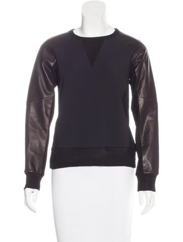 Rag & Bone Leather-Paneled Long Sleeve Sweatshirt None