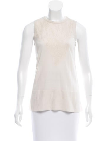 Rag & Bone Lace-Accented Wool Top None
