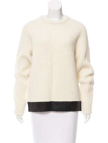 Rag & Bone Leather-Trimmed Wool Sweater None