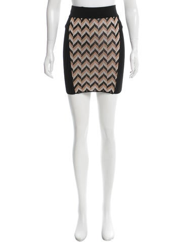 Rag & Bone Chevron Patterned Mini Skirt None