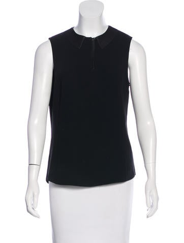 Leather-Trimmed Sleeveless Top