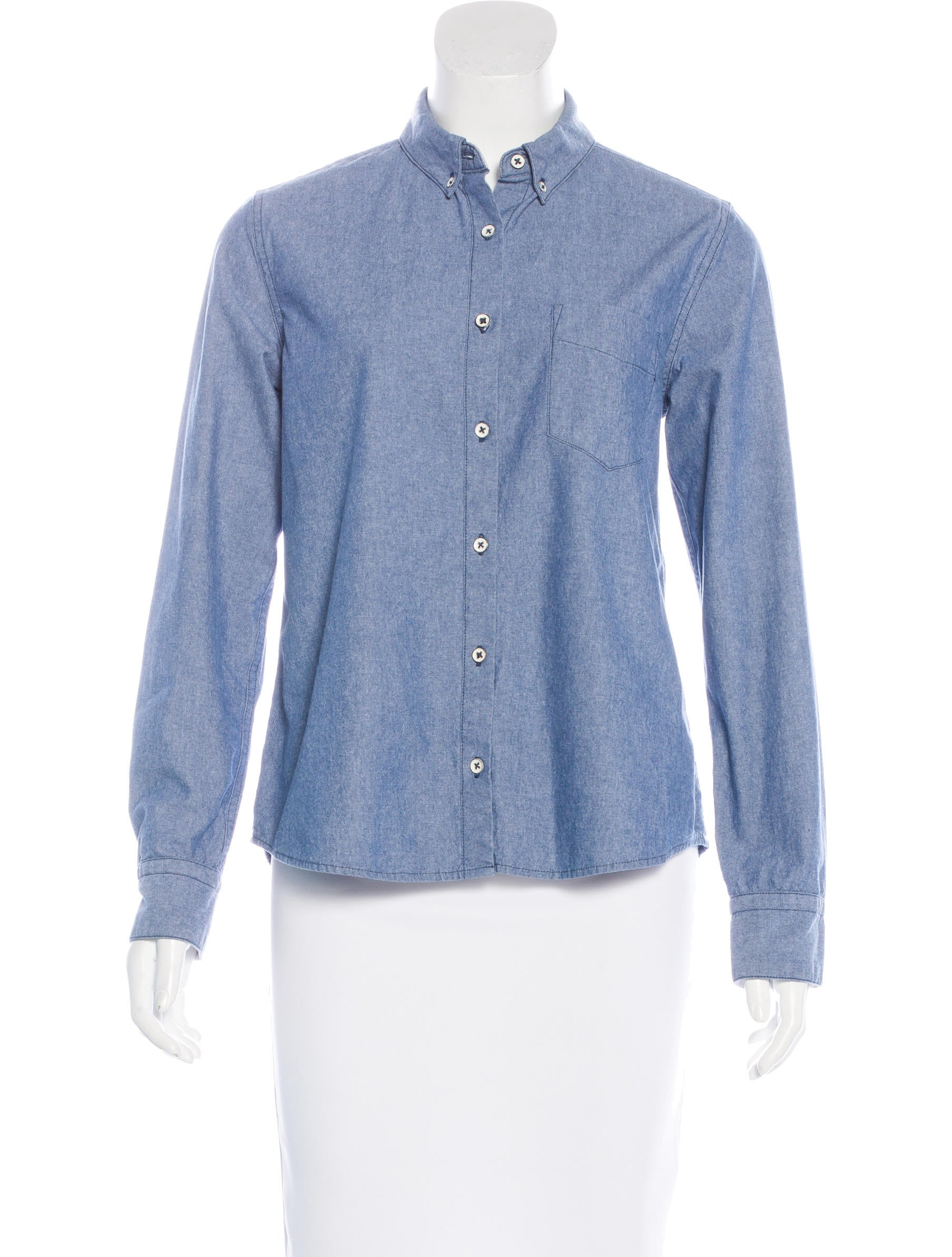 Rag bone button up chambray top clothing wragb62838 for Chambray top