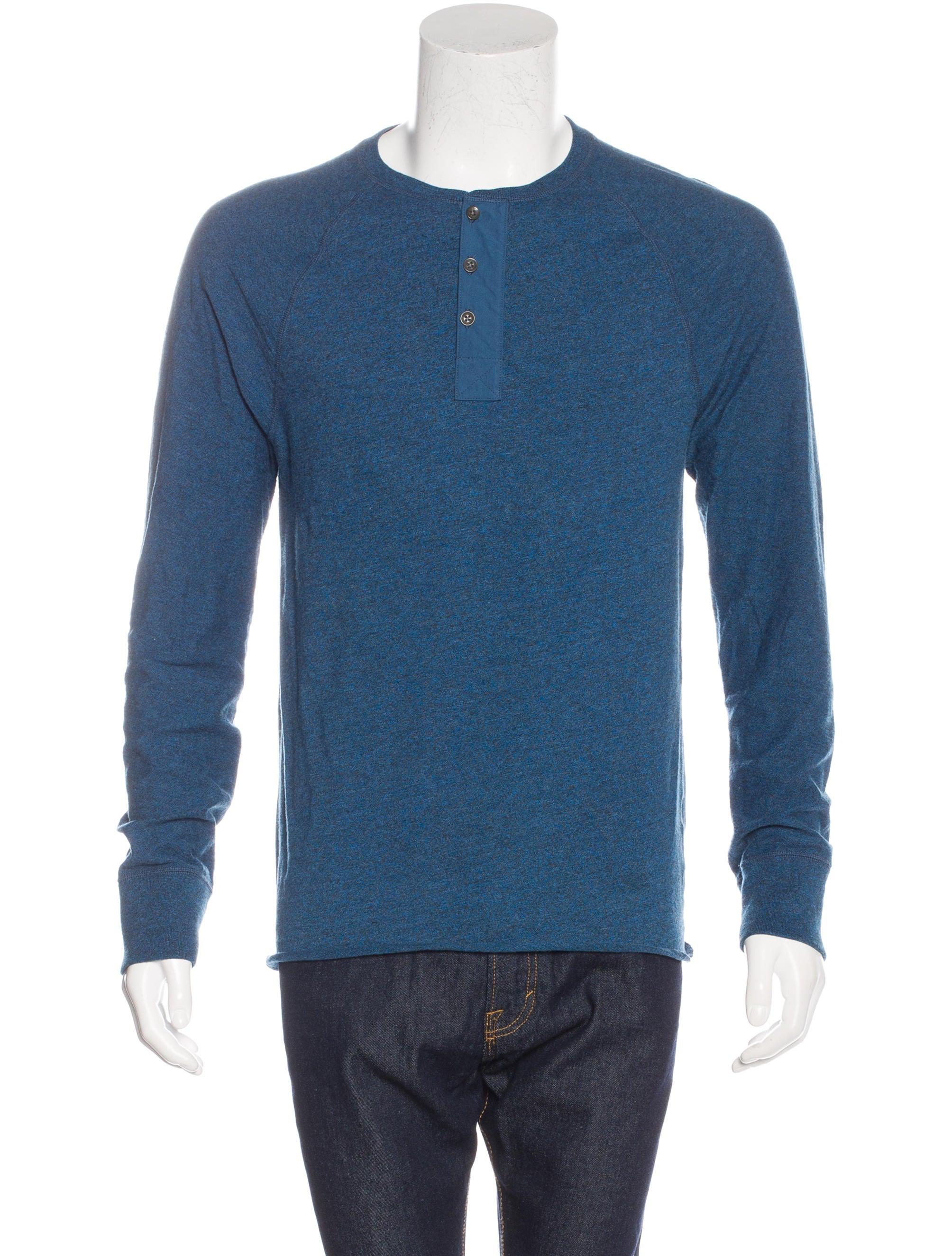 Rag Bone Long Sleeve Henley T Shirt Clothing
