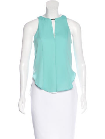 Rag & Bone Leather-Trimmed Sleeveless Top w/ Tags None