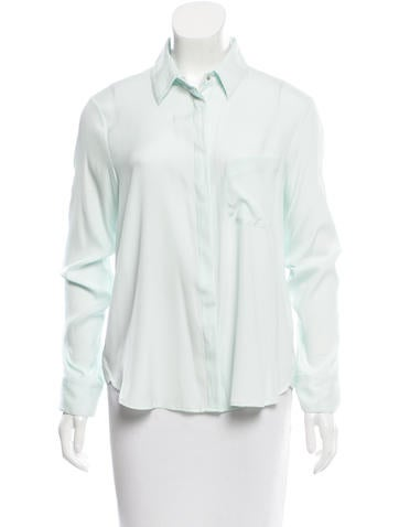 Rag & Bone Collared Silk Top None