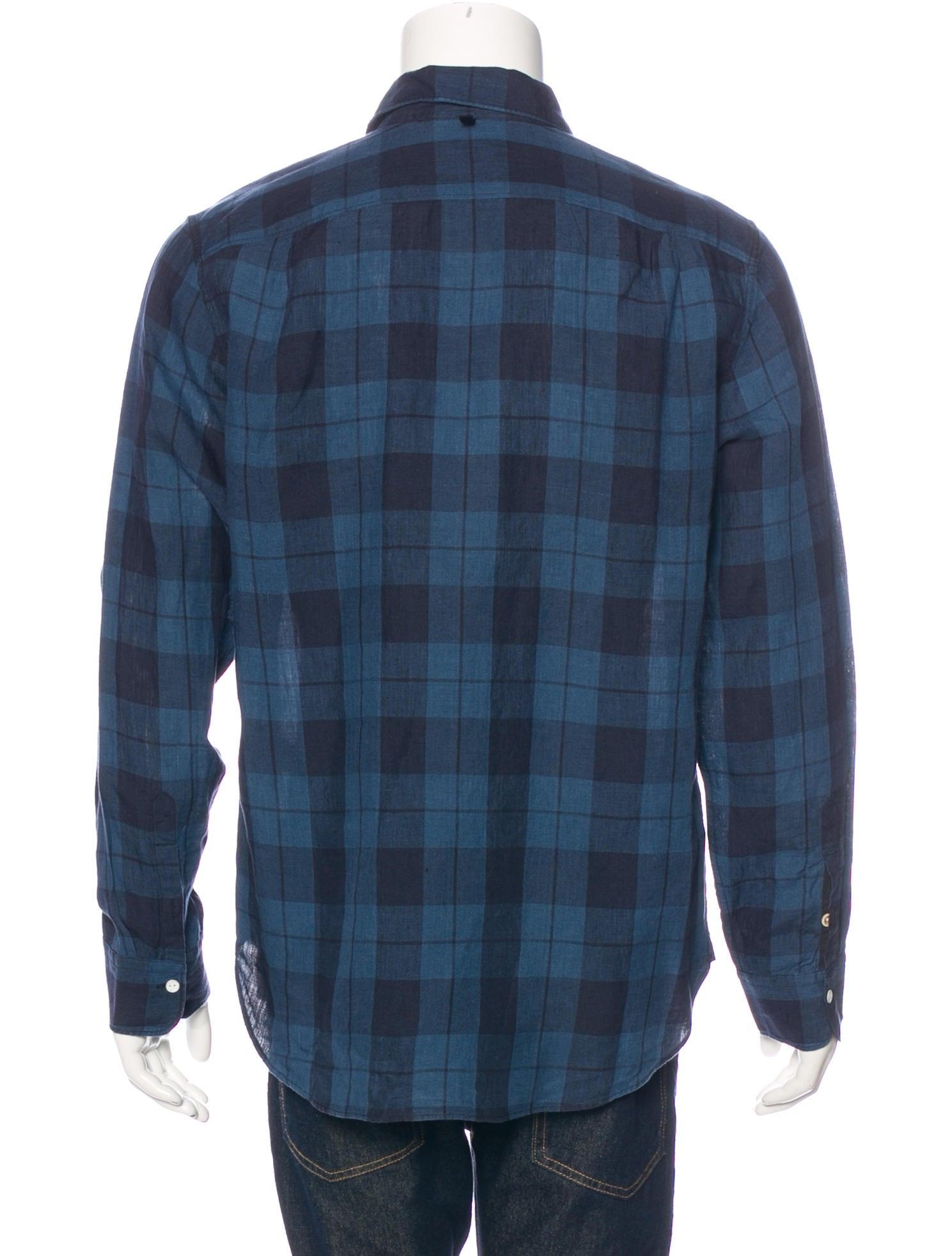 Rag bone plaid linen shirt clothing wragb68112 the for Rag and bone mens shirts sale