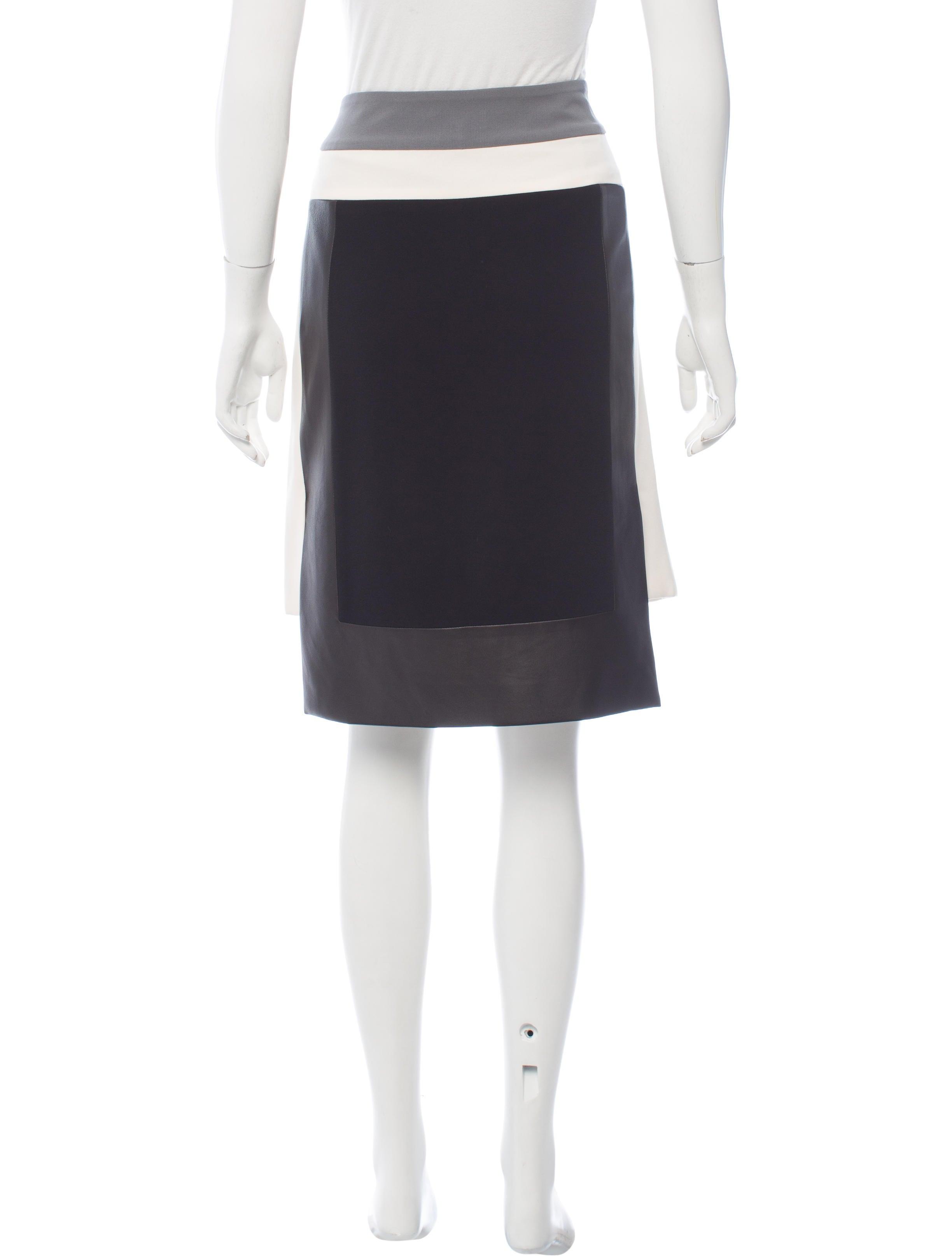 rag bone leather trim knee length skirt clothing
