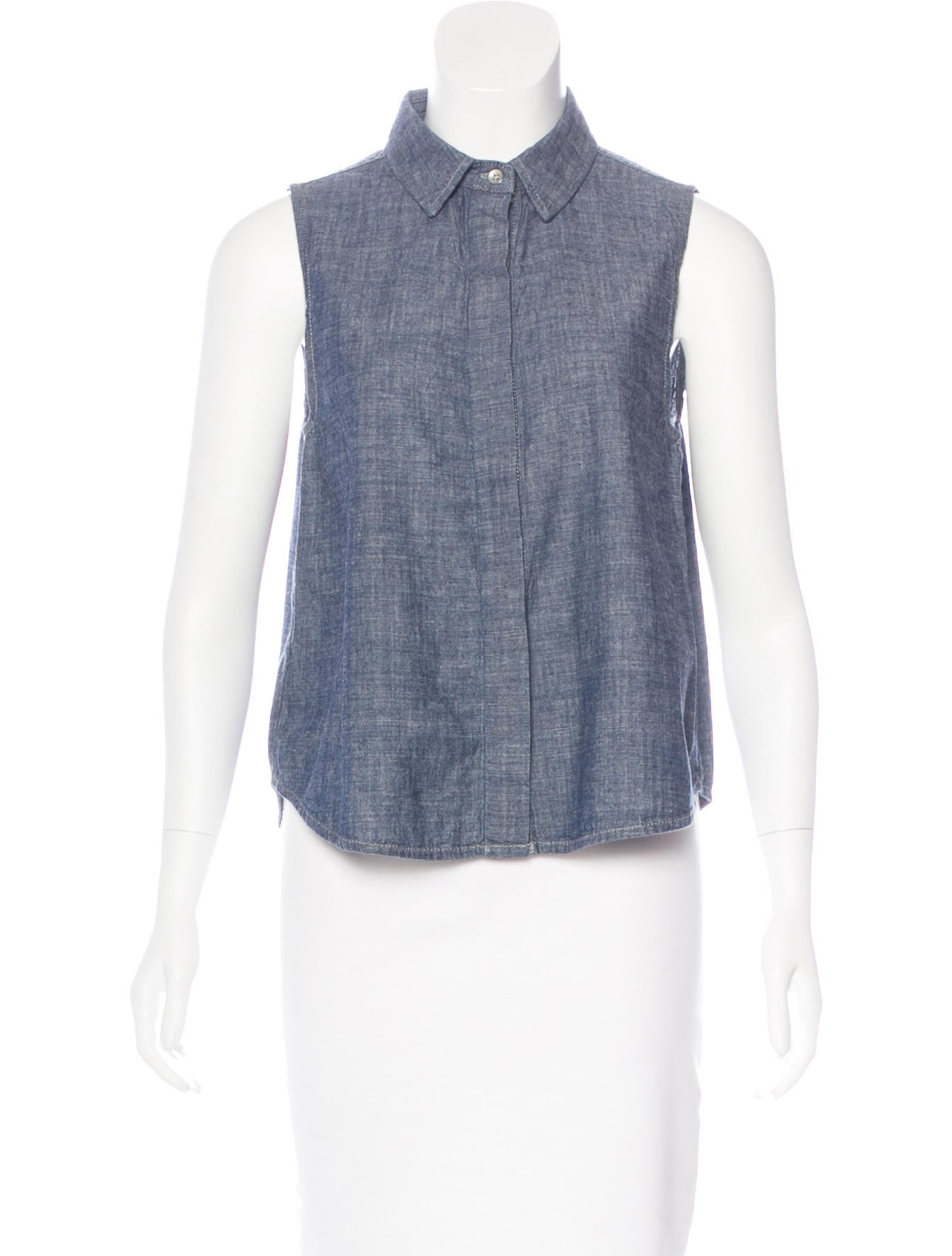 Rag bone chambray collared top clothing wragb70176 for Chambray top