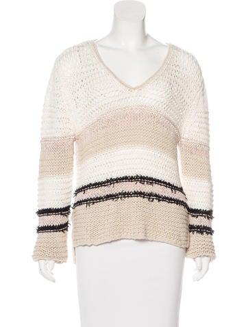 Rag & Bone Open Knit Striped Sweater None