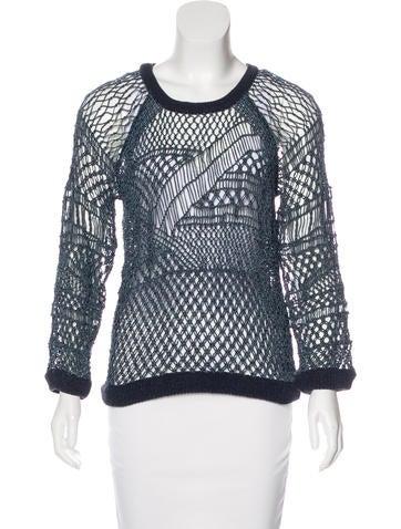 Rag & Bone Open Knit Crew Neck Sweater None