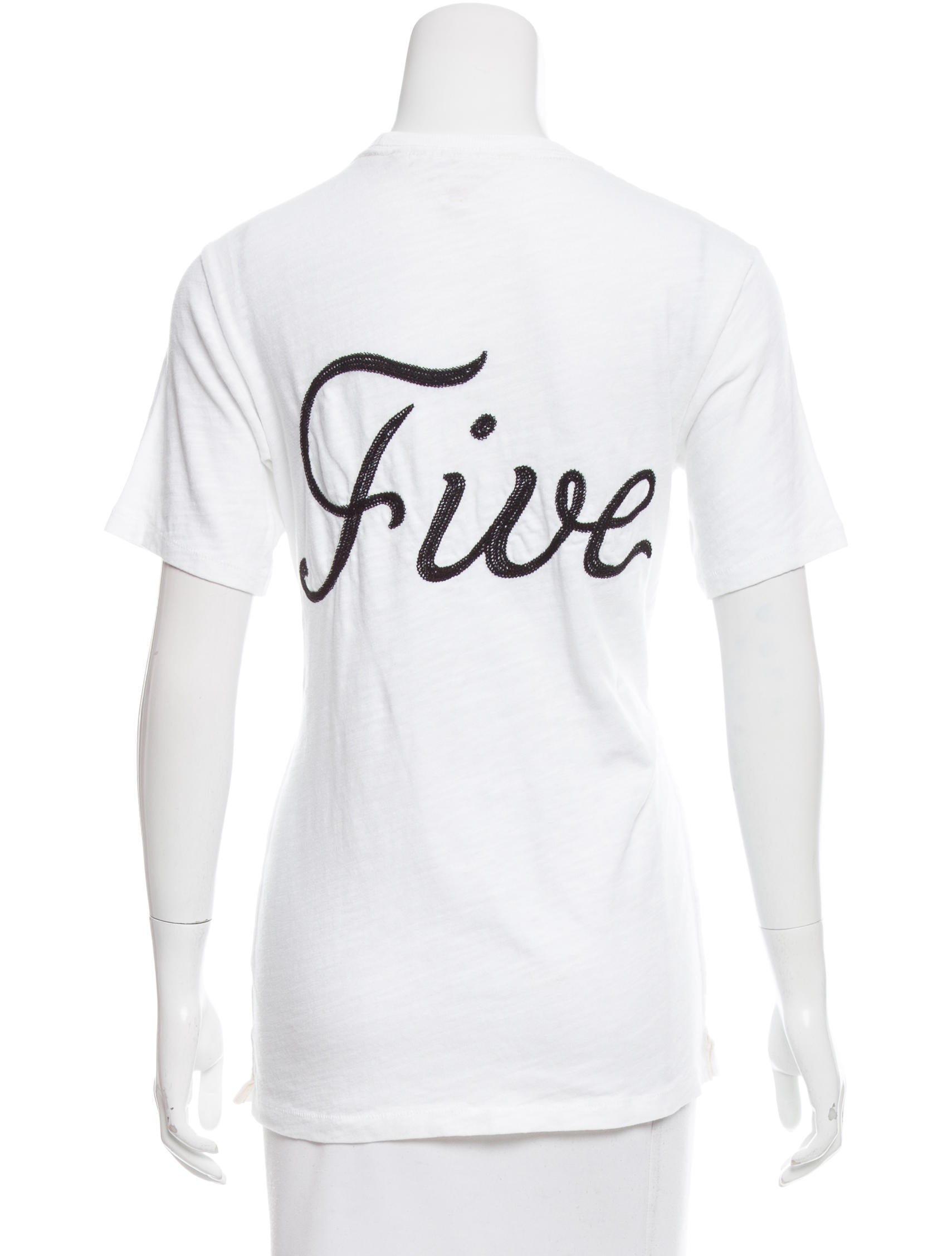 Rag bone embroidered t shirt clothing wragb82975 for Rag and bone white t shirt