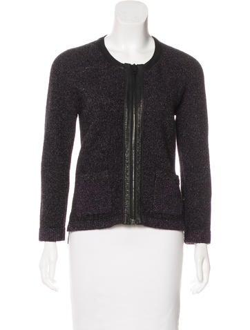 Rag & Bone Leather-Trimmed Wool Cardigan None