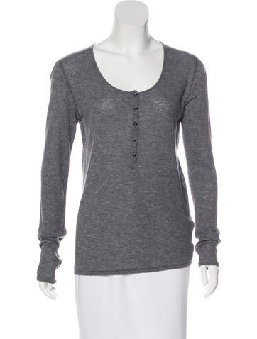 Rag & Bone Rib Knit Henley Top None