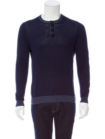 Rag & Bone Crew Neck Henley Sweater None