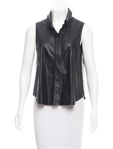 Rag & Bone Leather Sleeveless Button-Up Top None