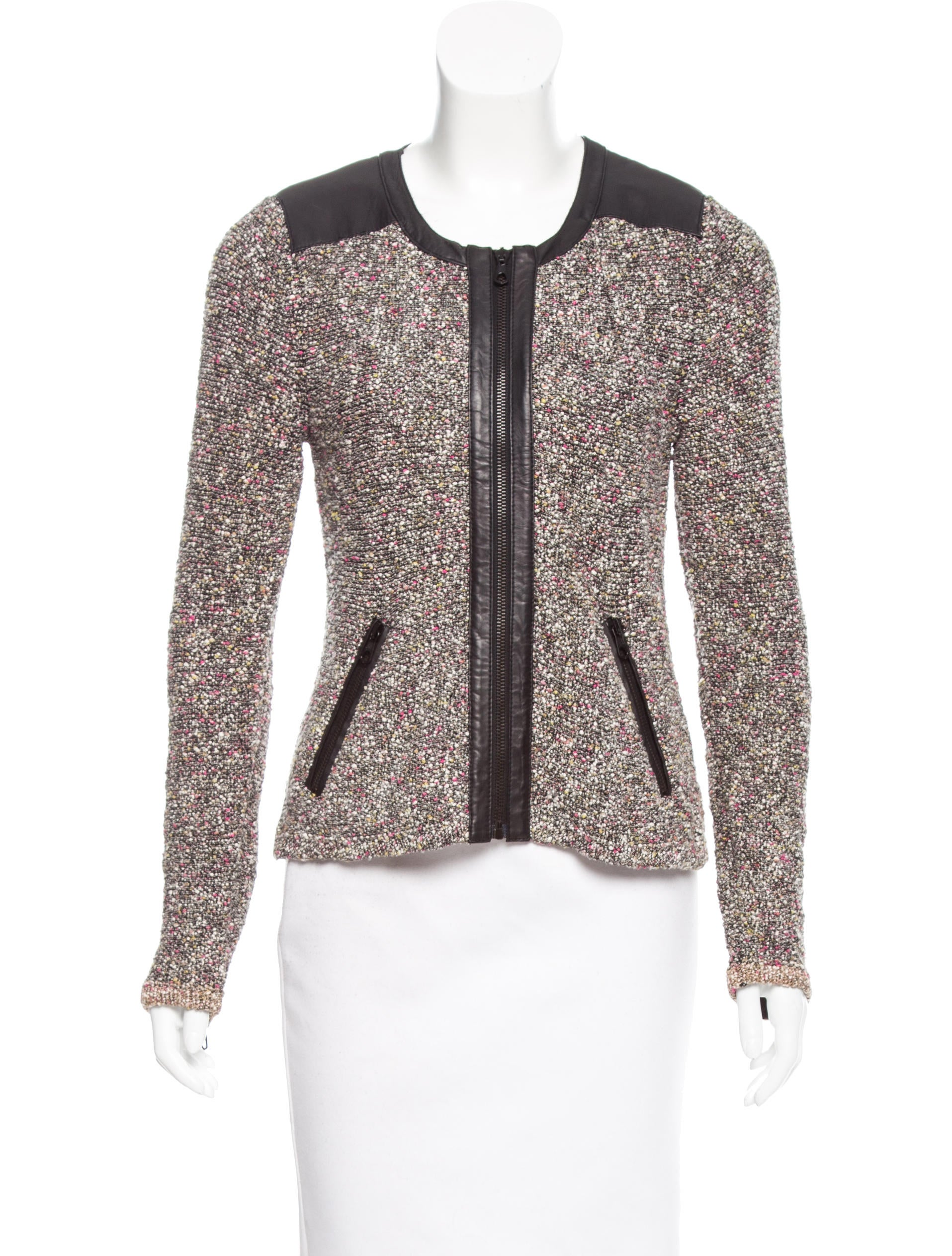 Rag Amp Bone Tweed Leather Accented Jacket Clothing