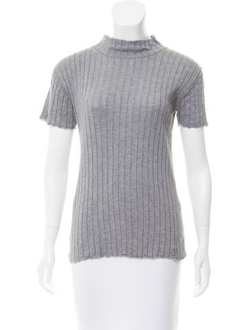 Rag & Bone Rib-Knit Short Sleeve Top None