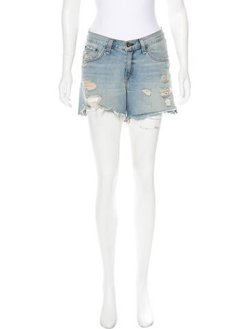 Rag & Bone Distressed Denim Shorts None