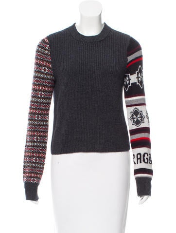 Rag & Bone Wool Knit Long Sleeve Crew Neck Sweater None