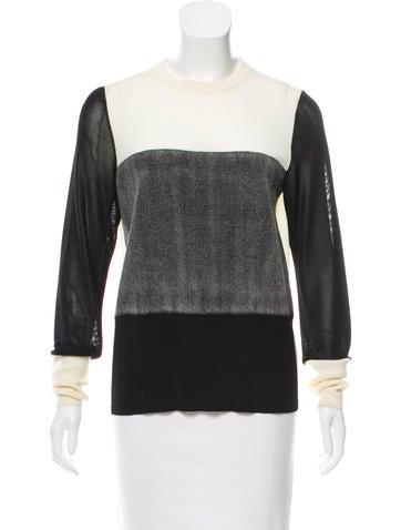 Rag & Bone Wool-Paneled Long Sleeve Sweater None