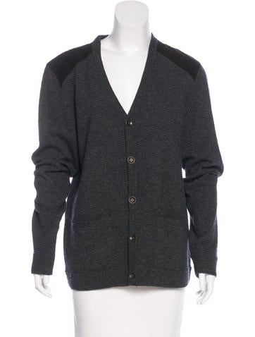 Rag & Bone Suede-Trimmed Wool Cardigan None