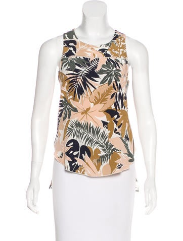 Rag & Bone Silk Printed Sleeveless Top None