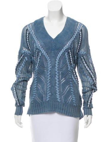 Rag & Bone Ribbon-Embellished Open Knit Sweater None