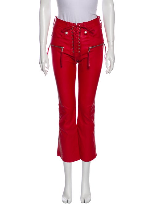 Unravel Project Leather Wide Leg Pants Red