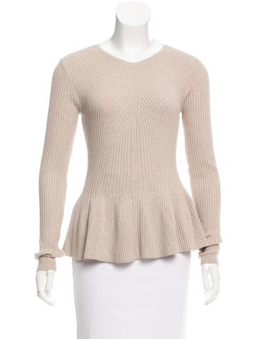 Rebecca Taylor Wool-Blend Peplum Pullover Top w/ Tags None