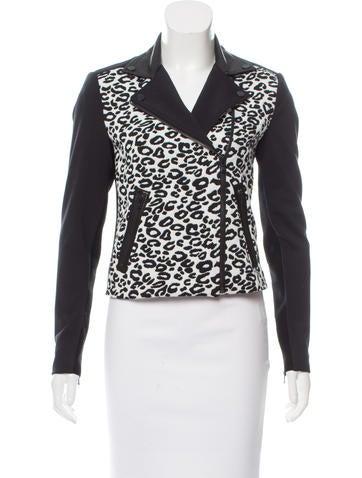 Rebecca Taylor Leopard Patterned Moto Jacket