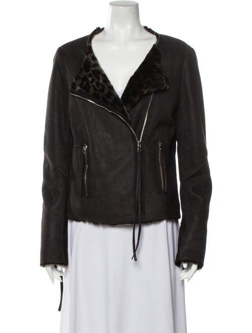 Rebecca Taylor Shearling Biker Jacket Black