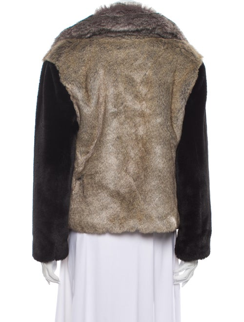 Rebecca Taylor Colorblock Pattern Faux Fur Jacket