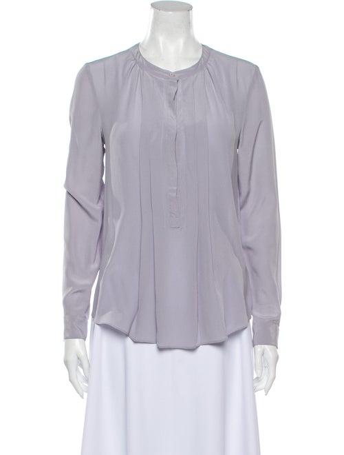 Rebecca Taylor Silk Crew Neck Button-Up Top Purple