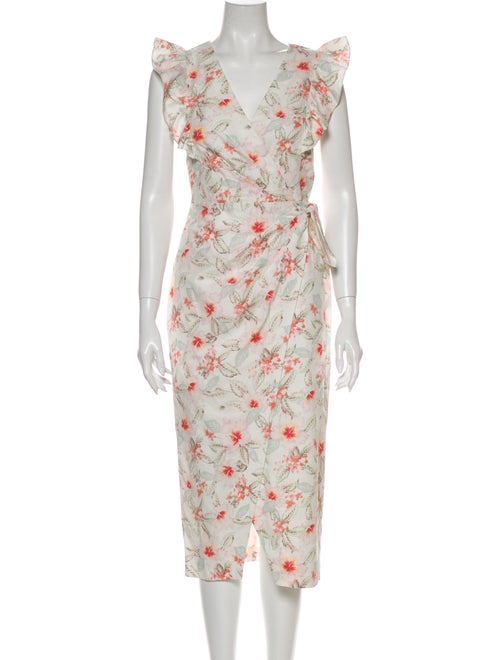 Rebecca Taylor Floral Print Midi Length Dress Whit