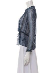 Rebecca Taylor Silk Animal Print Blouse