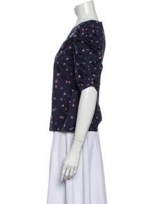 Rebecca Taylor Floral Print V-Neck Blouse w/ Tags
