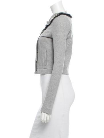 Mesh Ruffle-Trimmed Jacket