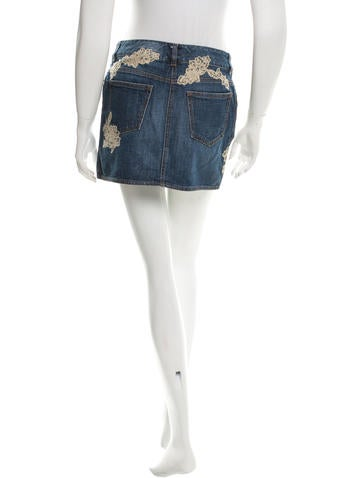valentino lace accented denim skirt clothing