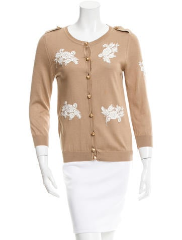 Red Valentino Lace-Accented Button-Front Cardigan None